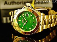 Invicta Men's Pro Diver Japanese Quartz Green Dial Gold IP Coin Edge Bezel Watch