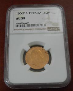 Australia 1906P Gold 1 Sovereign NGC AU58 Victoria Perth Mint