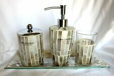 Mother of Pearl Mosaic Glass Bath Set tray soap pump jar toothbrush.West Lake