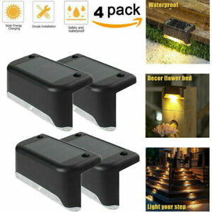 4/8/12X LED Solar Deck Lights Outdoor Path Garden Pathway Stairs Step Fence Lamp