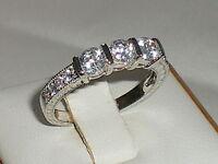 Damen punziert 925 Sterling Silber massiv 3 stein weiß Saphir Ewigkeit Ring