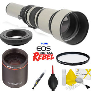 650-2600mm HD TELEPHOTO TELESCOPIC ZOOM LENS +CASE+FILTER FOR CANON EOS REBEL