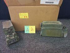 2 USGI MILITARY BATTERY BOX PRC L-P-410 CY-8523A/PRC ARMY PLASTIC GREEN USED