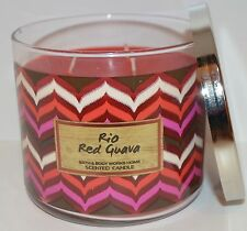 BATH BODY WORKS RIO RED GUAVA SCENTED CANDLE 3 WICK 14.5 OZ LARGE PASSION FRUIT