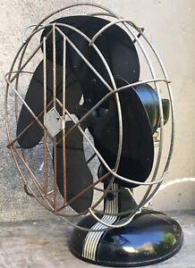 Vintage Robbins Myers Art Deco Black Silver Table Wall Fan 4 Blade Tilts Rotates