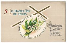 ALL EASTER JOY BE YOURS Cross Lilies of the Valley Vintage Postcard Embossed