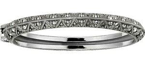 NWT Brighton ALICE Crystal Silver Oval Hinged Bangle Bracelet MSRP $68