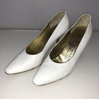 "Bruno Magli 7 AA Narrow Heels White Heels Classic Leather Womens Shoes 3"" Heel"