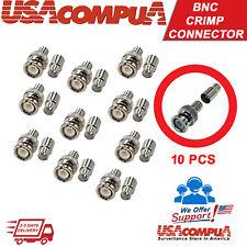 Crimp BNC Connectors Male RG59 Coax Coaxial  For CCTV Camera 10pcs