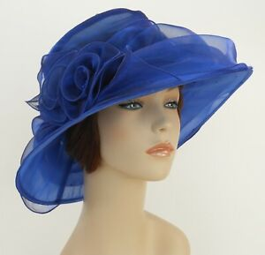 New Church Kentucky Derby Wedding  Party Organza  Dress Hat 3188 Blue