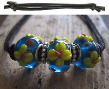 Surferkette Blume blau Lederkette Kette Leder schwarz Damen Halskette Damenkette