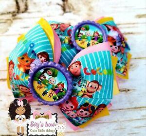 Cocomelon hair bow/pigtail handmade