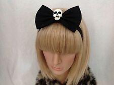 Large black skull headband hair bow rockabilly pin up girl Psychobilly gothic