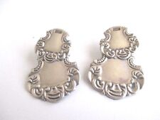 vintage sterling huge hand crafted ornate 2 piece earrings for pierced ears