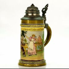 HR Hauber & Reuther 444 Antique German Etched Lidded Beer Stein - Beer Garden