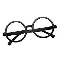 Retro Round Plastic Potter Black Clear Lens Hippie Nerd Hipster Glasses