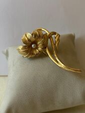 Vintage Flower Brooch By Broucher Gold Tone Finish