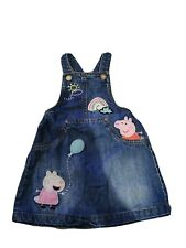 Next Girls Denim Peppa Pig Pinafore/Dungaree Dress 2-3yrs