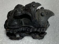 """Antique Chinese archaic bronze double toad good fortune 3"""" w wood stand stylized"""