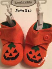 Koala Kids Halloween Pumpkin Jack-O-Lantern Baby Booties Boots Crib Shoes 0-6 M