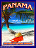 Panama Canal Beach Ocean Palm Tree Central America Travel Poster Advertisement