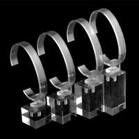 4 Piece Clear Acrylic Jewelry Watch Bracelet Display Stand Holder Organzier
