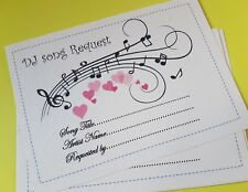 12 Wedding DJ Song Request Cards Luxury Personalised Celebration Party Hearts