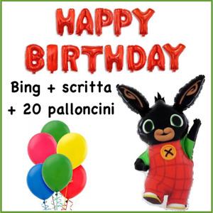 Palloncino Bing CM 85 + 20 palloncini colorati compleanno+scritta Happy Birthday