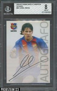 2004-05 Panini Barca Campeon Spanish Soccer #89 Lionel Messi RC Rookie BGS 8