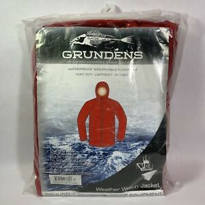 Grundens Weather Watch Hooded Jackets Red - Size Small