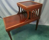 """Vintage Mid Century 1960s Cherry Wood 2 Tier End Table 23""""W x 24""""L"""