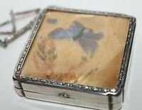 Vintage Antique Compact With Chain Sterling Silver