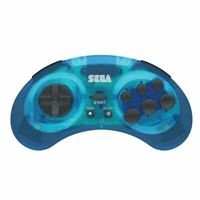 SEGA Genesis Bluetooth Controller Gamepad For PC Mac Android Switch Clear Blue