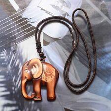 1PC Bohemia Folk-custom Section Wooden Elephant Sweater Necklace Fashion Jewelry
