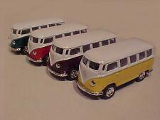 4 Pack of 1962 VW Bus Volkswagen Van Diecast Car 1:64 Kinsmart 2.5 inch Solid