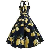 Sleeveless Evening women Summer halter Dress Dresses floral Swing Party vintage