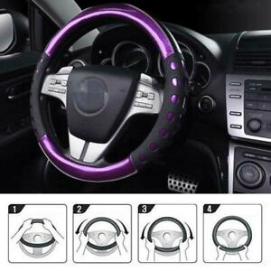 PU Leather Car Steering Wheel Cover Glossy Purple 38cm-Red/Blue/Gold/Green Handy
