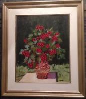 Vintage Mid-Century Still Life Oil Painting Vase of Flowers