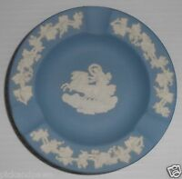 Vintage Wedgwood Light Blue Jasperware Ashtray Dish Lady in Chariot Relief
