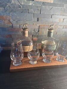 Bourbon, Scotch Flight Tasting 4 Glencairn Glass Board Whiskey Whisky Handmade