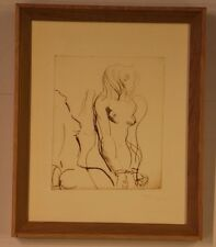 Signed original artwork erotic Nude women in bondage mid century etching framed