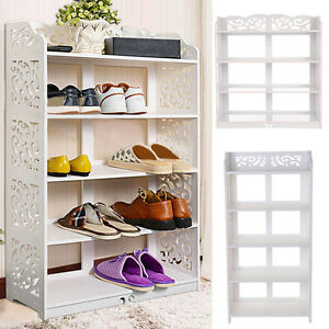 Wooden 3/4/5/6 Tiers Shoe Rack Stand Storage Organiser Unit Shelf Home Holder