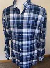 Ralph Lauren Mens Custom Fit Blue White Checks Plaid L/S Pony Shirt Sz XL Slim