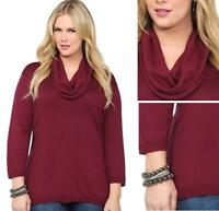 $44 NWT TORRID women's Flirty Cowl Neck sweater red burgundy PLUS (0-zero) 12-14