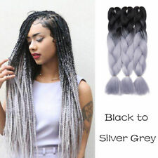 "1pc bulk! 24"" women lady long braid hair extension swin in silver grey synthetic"
