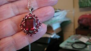 """NWT STERLING SILVER GARNET DOUBLET NECKLACE, CHAIN IS 20"""", DROP IS 1.4"""""""