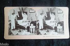 STB473 Scène de genre Couple lit chambre stereoview photo STEREO albumen