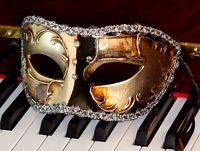 Mens Masquerade Mask ITALIAN Made OVERNIGHT to You Most Metro Venetian Silver Bl