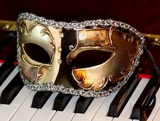Mens Venetian Masquerade Mask - ITALIAN Made OVERNIGHT to Most Metro - Silver Bl