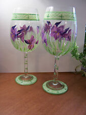 LG Hand Painted Set-2 PURPLE IRIS Stemmed Wine Water Glasses Floral 18-oz 8-5/8""
